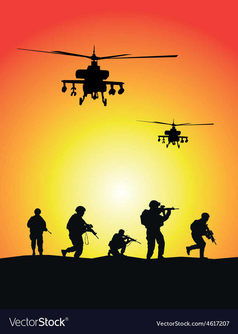 Soldiers group military helicopters vector | Price: 1 Credit (USD $1)
