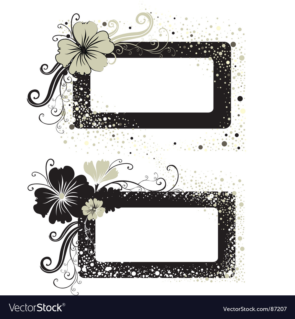 Two floral vintage frame vector | Price: 1 Credit (USD $1)