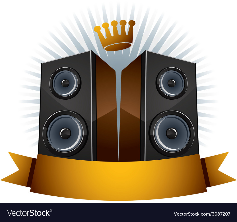 Two speakers with crown and ribbon vector | Price: 1 Credit (USD $1)