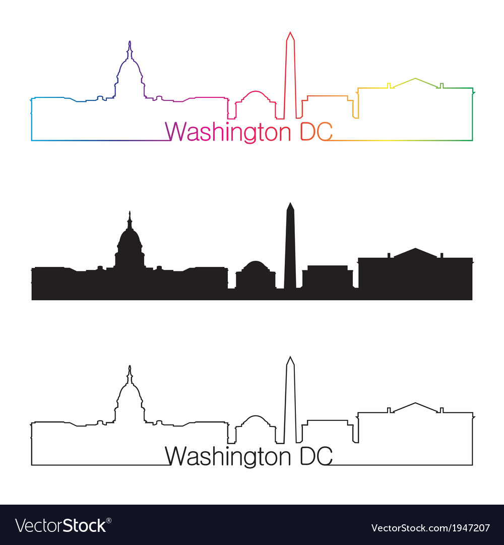 Washington dc skyline linear style with rainbow vector | Price: 1 Credit (USD $1)