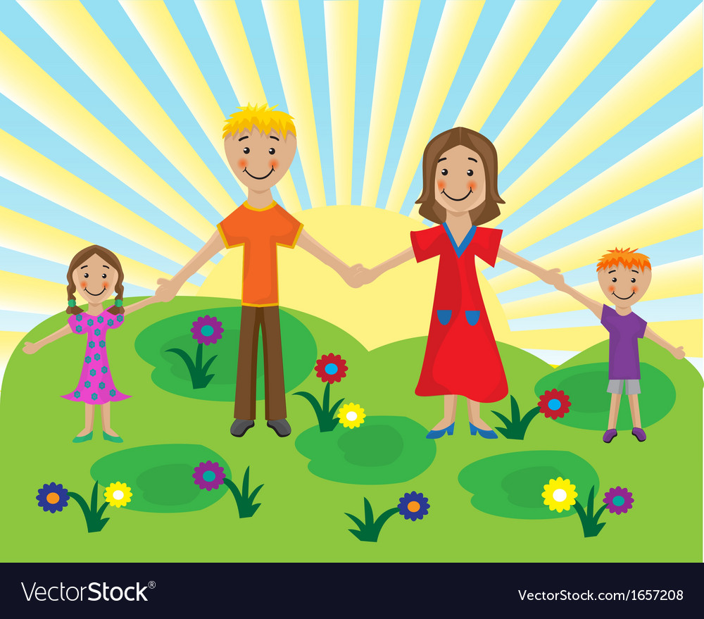 Family on the lawn vector | Price: 1 Credit (USD $1)