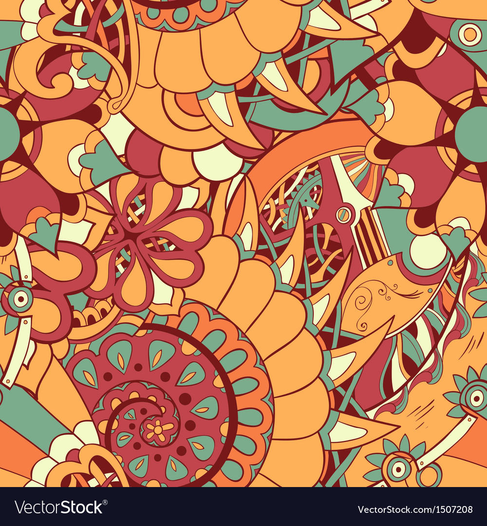 Floral mechanism seamless vector | Price: 1 Credit (USD $1)