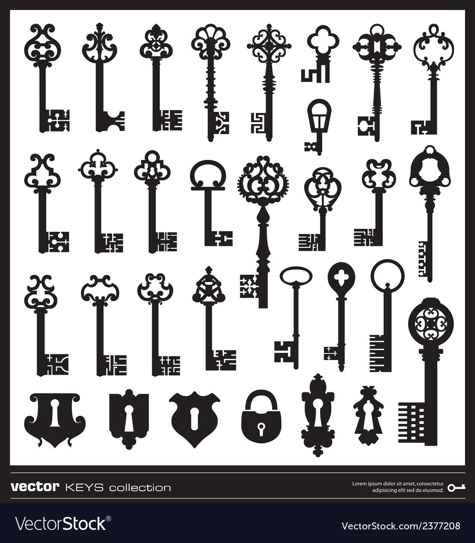 Keys silhouettes vector | Price: 1 Credit (USD $1)
