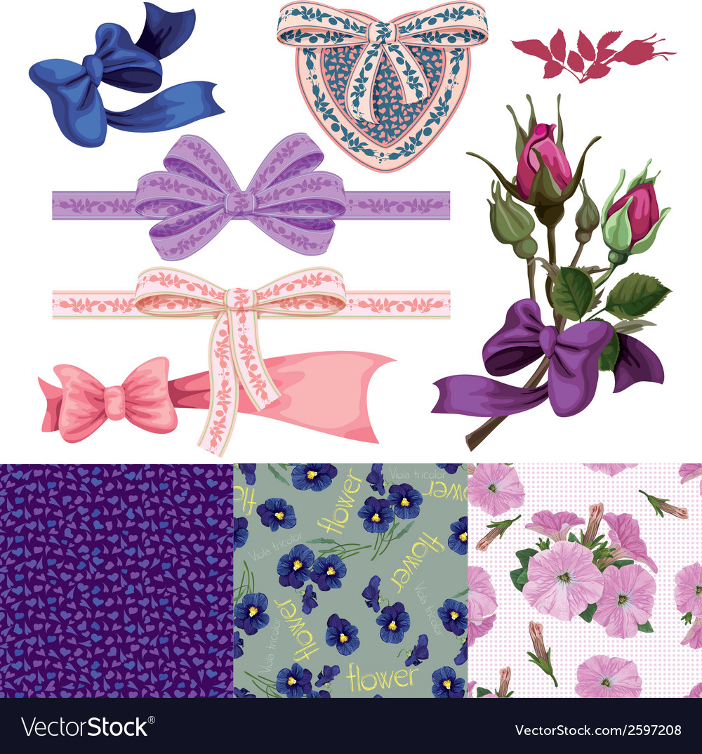Set of the ribbons with bows the rose vector | Price: 1 Credit (USD $1)