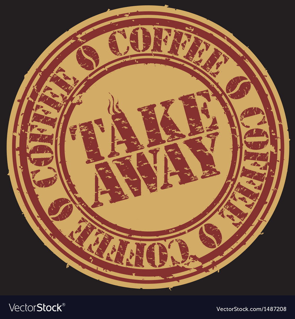 Take away coffee stamp vector | Price: 1 Credit (USD $1)