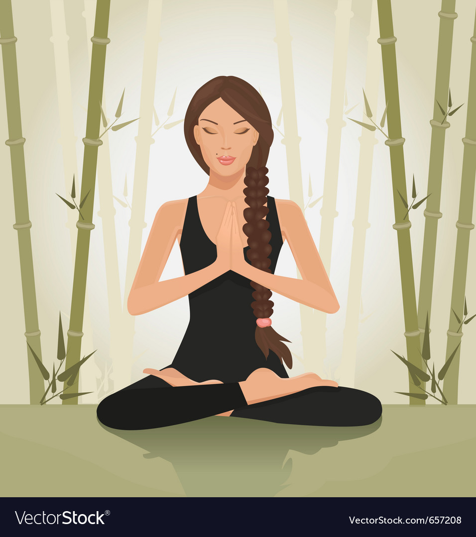 Woman meditating yoga vector | Price: 1 Credit (USD $1)