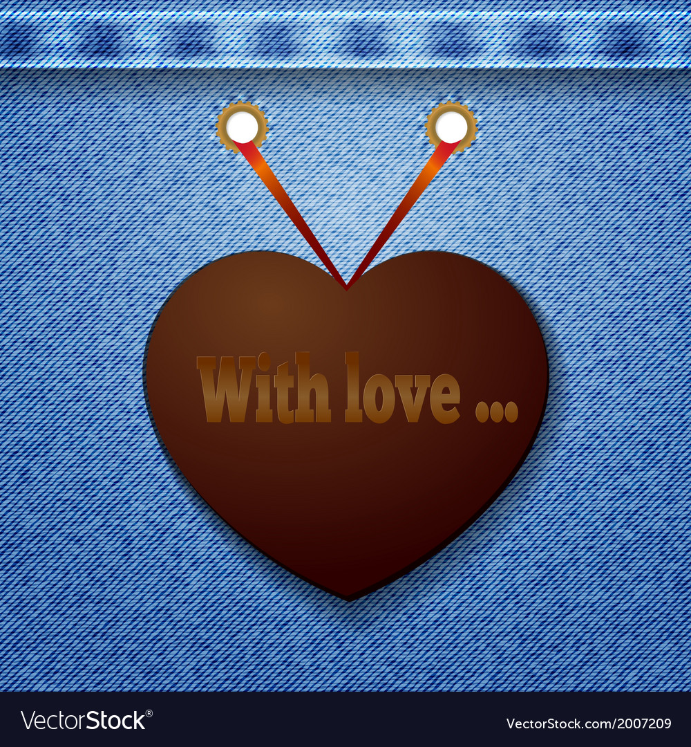 Abstract denim background with heart vector   Price: 1 Credit (USD $1)