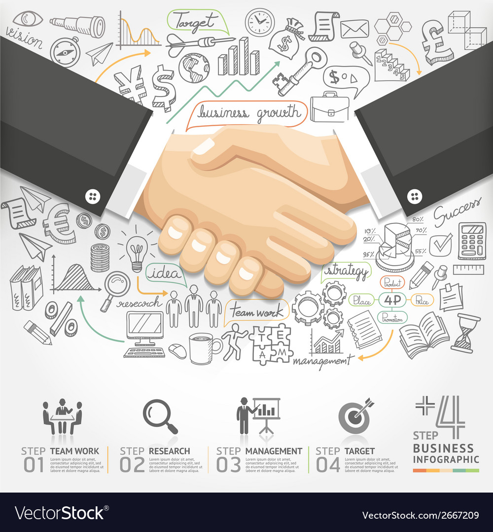 Business handshake infographics option vector | Price: 1 Credit (USD $1)
