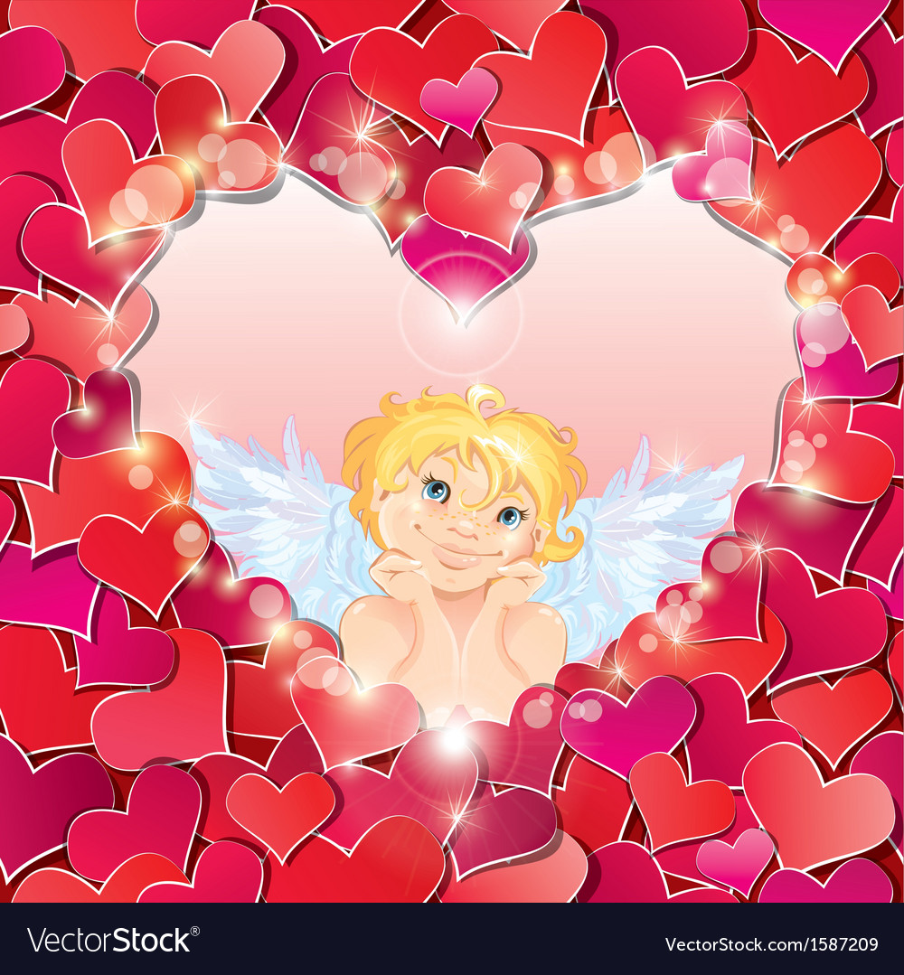 Cute angel in the heart shape frame vector | Price: 1 Credit (USD $1)