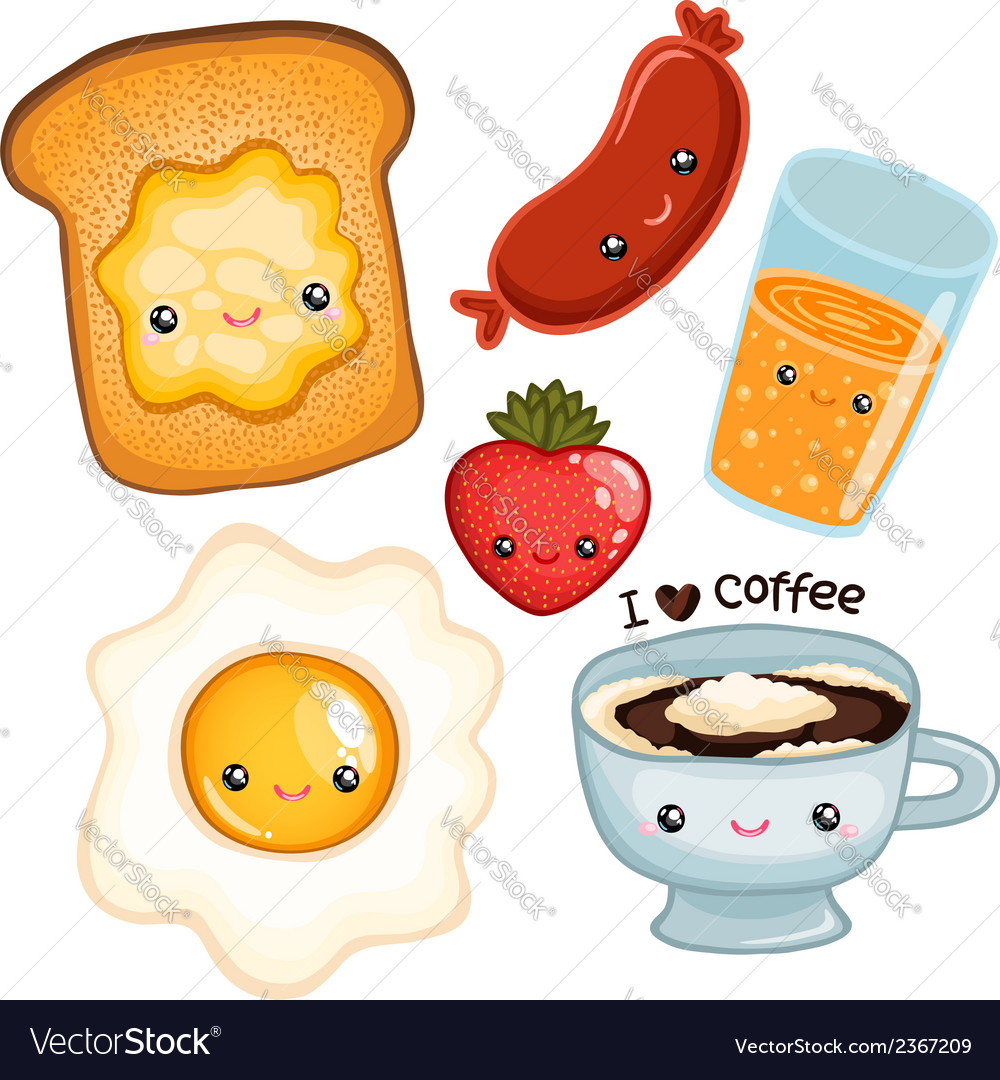 Cute breakfast food image vector | Price: 1 Credit (USD $1)