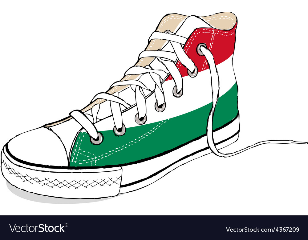 Hand draw modern sport shoes with hungary flag vector | Price: 1 Credit (USD $1)
