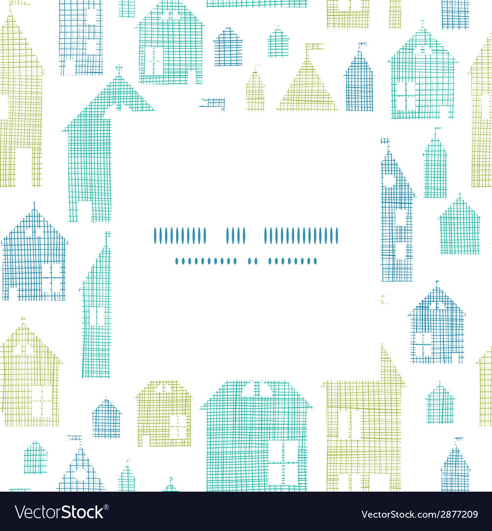 Houses blue green textile texture frame center vector | Price: 1 Credit (USD $1)