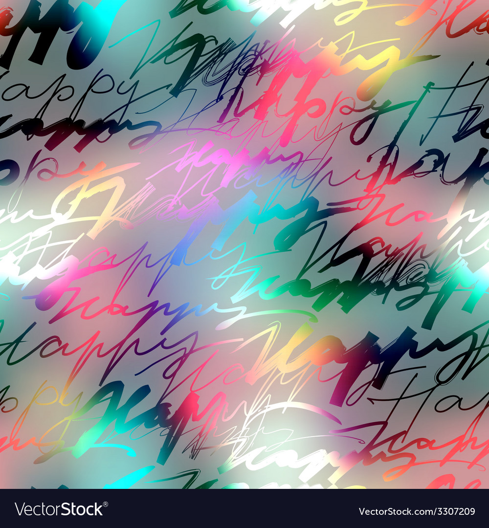 Inscriptions of word happy on blur background vector | Price: 1 Credit (USD $1)