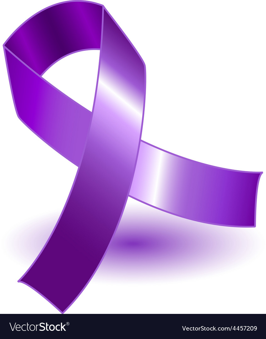 Purple awareness ribbon and shadow vector | Price: 1 Credit (USD $1)