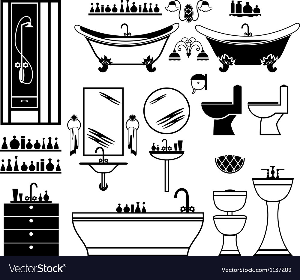 Set of black icons of bathroom vector | Price: 1 Credit (USD $1)