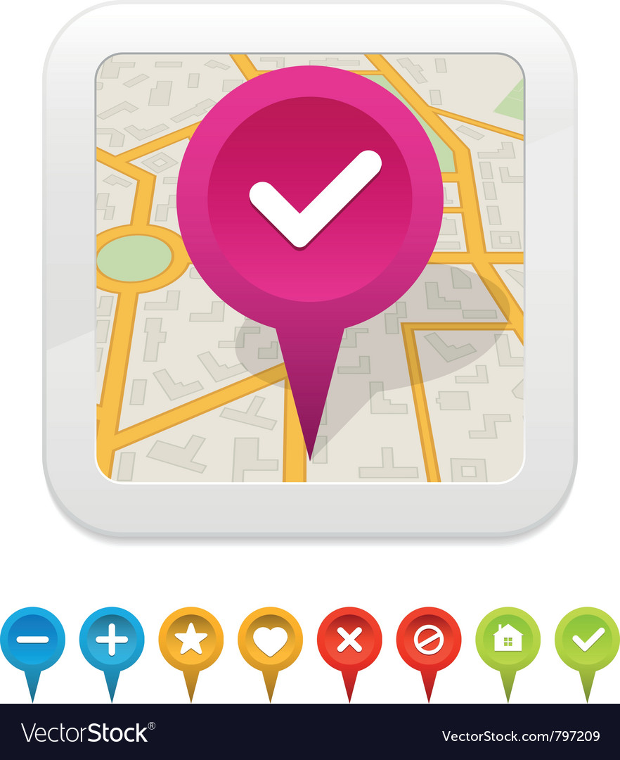 White gps navigator icon with labels vector | Price: 1 Credit (USD $1)
