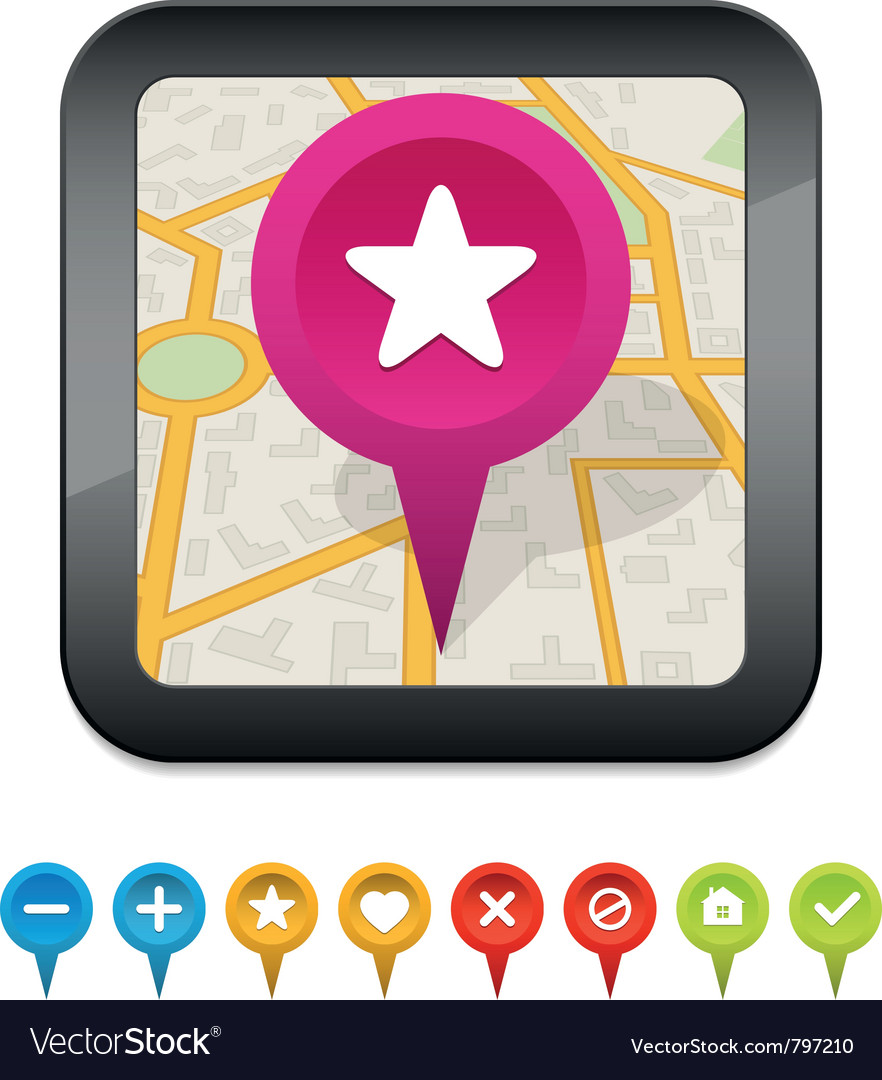 Black gps navigator icon with labels vector | Price: 1 Credit (USD $1)