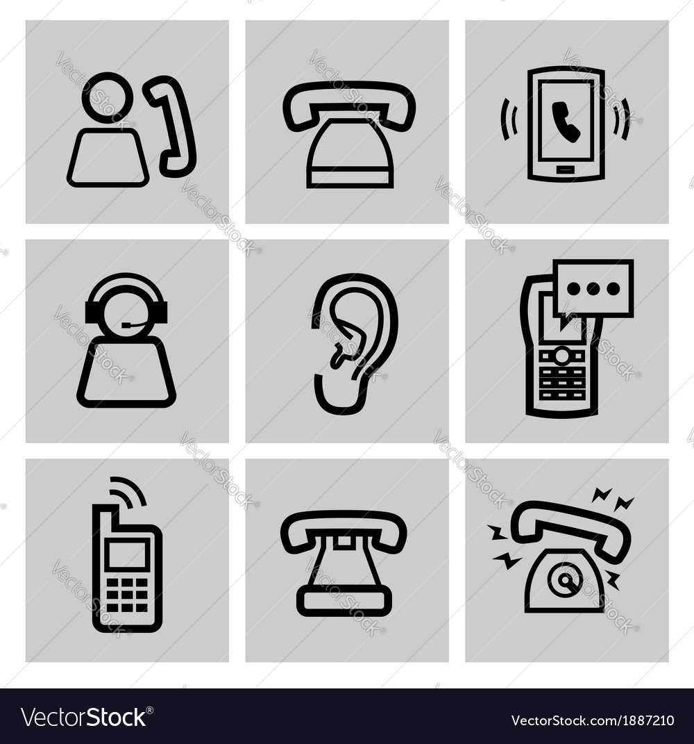 Black phone icons set vector | Price: 1 Credit (USD $1)
