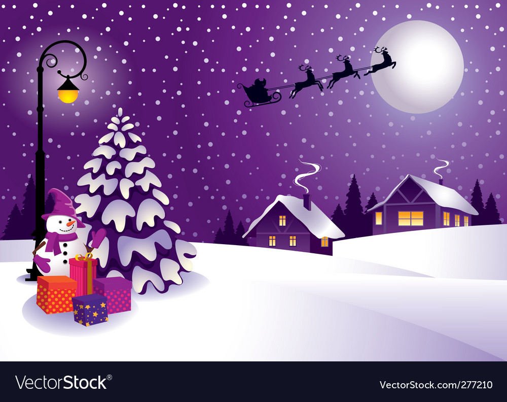 Christmas in the country vector | Price: 3 Credit (USD $3)
