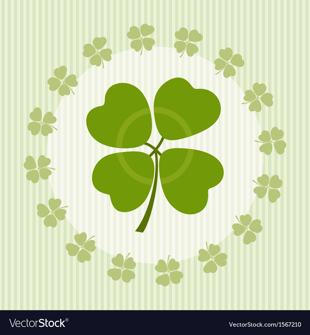 Clover with four leaves on luck vector | Price: 1 Credit (USD $1)