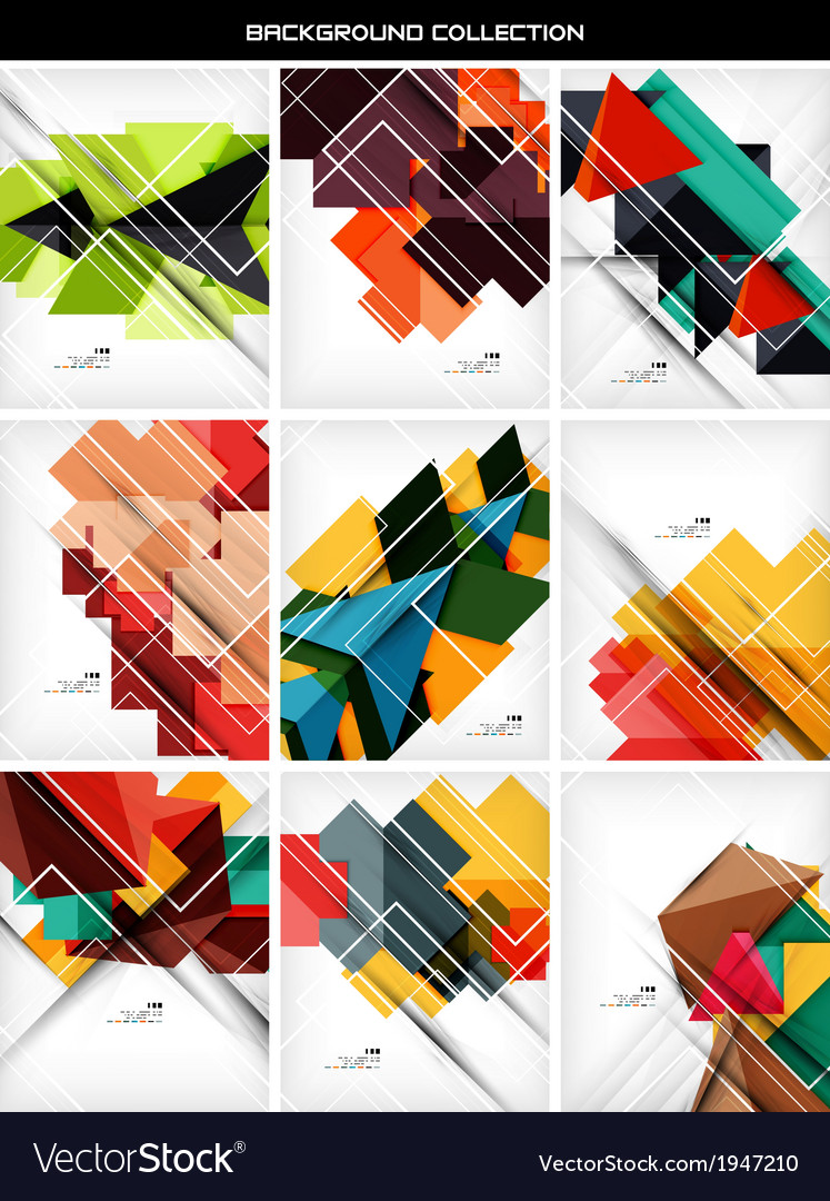 Collection of geometric shape abstract backgrounds vector | Price: 1 Credit (USD $1)