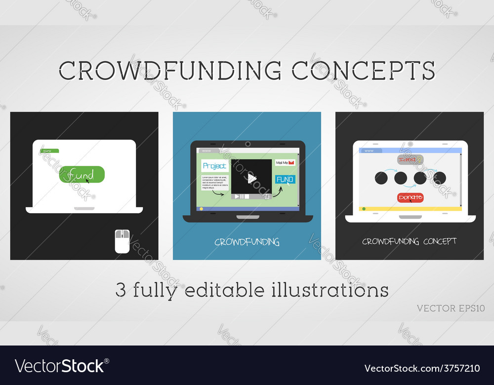 Crowdfunding concepts set online fund the vector | Price: 1 Credit (USD $1)