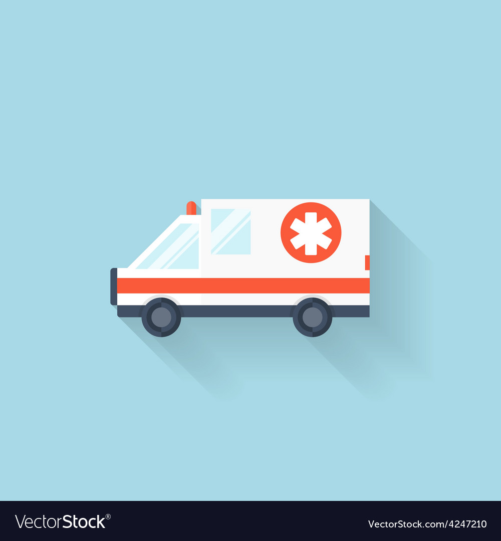 Flat web internet icon ambulance car vector | Price: 1 Credit (USD $1)