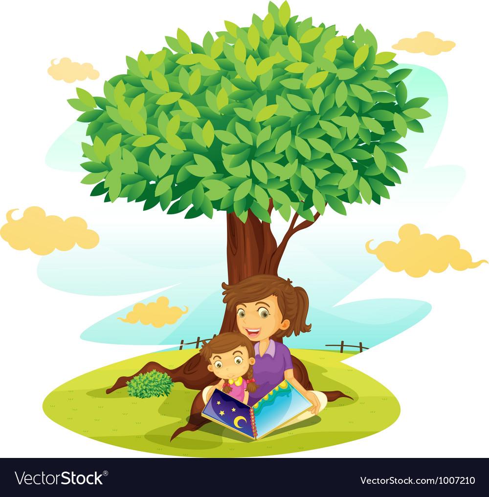 Girls reading under tree vector   Price: 3 Credit (USD $3)