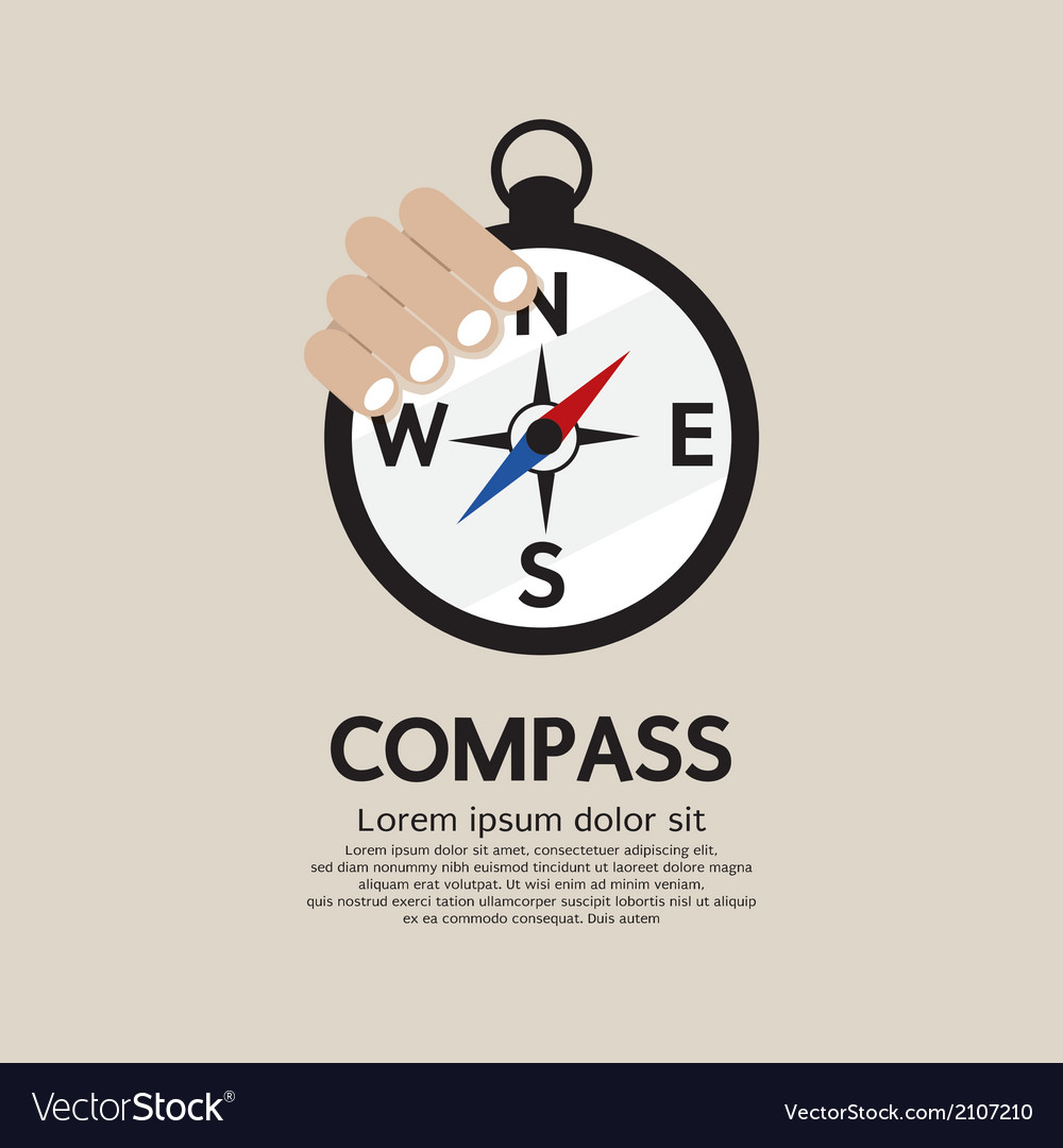 Hand holding a compass vector | Price: 1 Credit (USD $1)