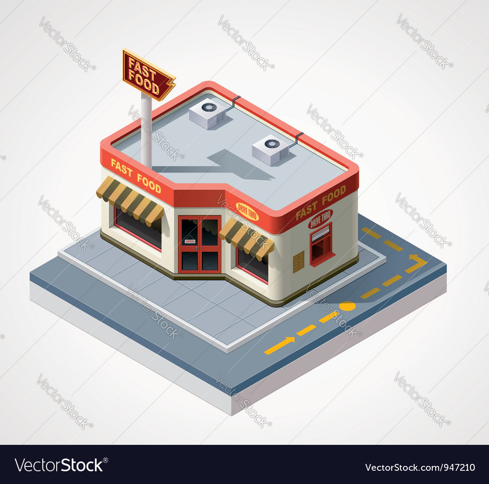 Isometric fast food cafe vector | Price: 3 Credit (USD $3)