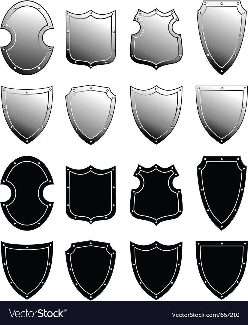 Metal heraldic shield set vector | Price: 1 Credit (USD $1)