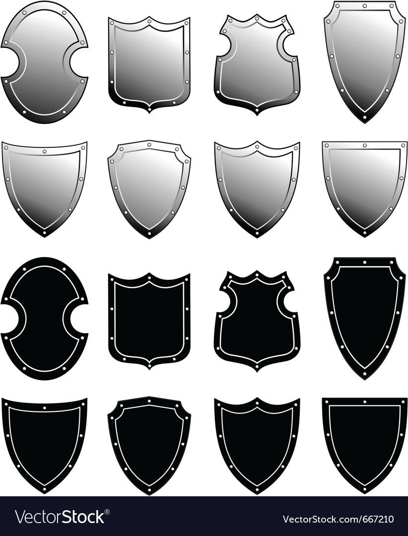 Metal heraldic shield set vector | Price: 1 Credit (USD $1)