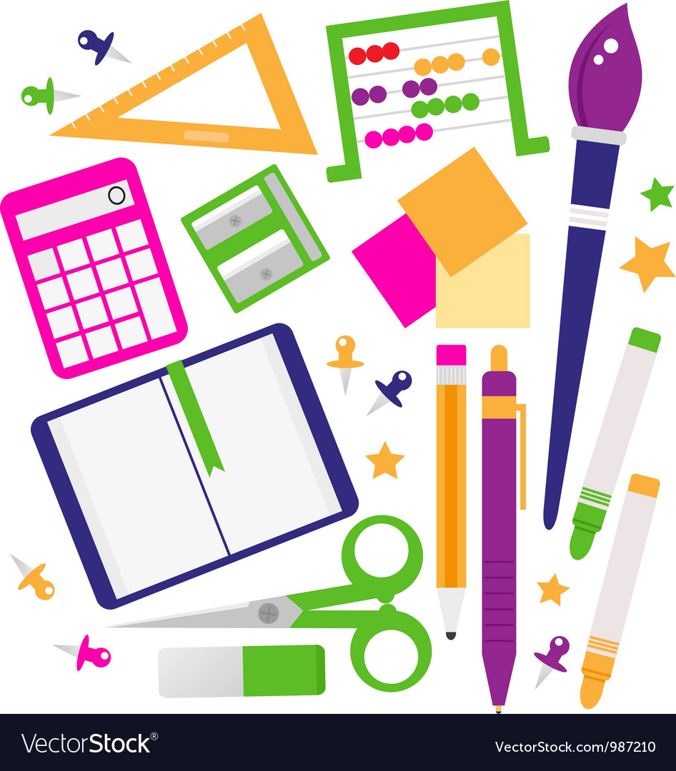 School accessories set isolated on white vector   Price: 1 Credit (USD $1)