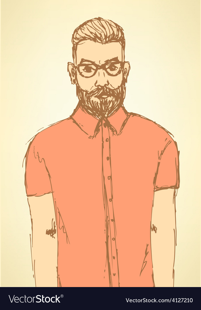 Sketch handsome hipster guy in vintage style vector   Price: 1 Credit (USD $1)