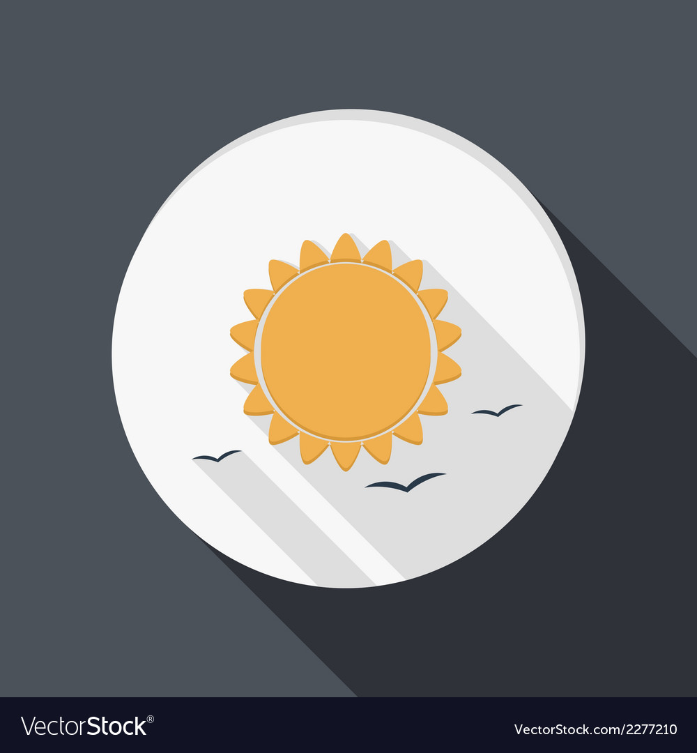 Sun icon flat style with shadow vector | Price: 1 Credit (USD $1)