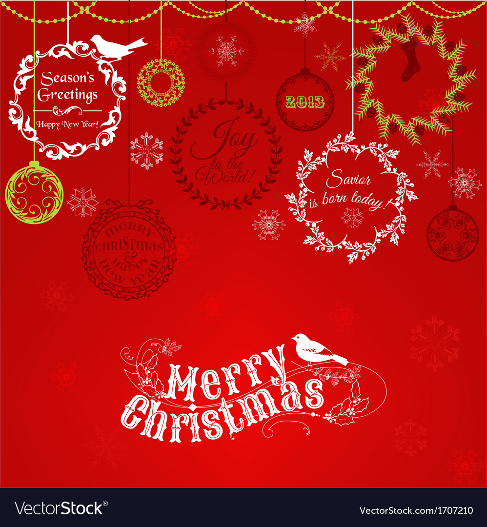 Vintage christmas card vector | Price: 1 Credit (USD $1)