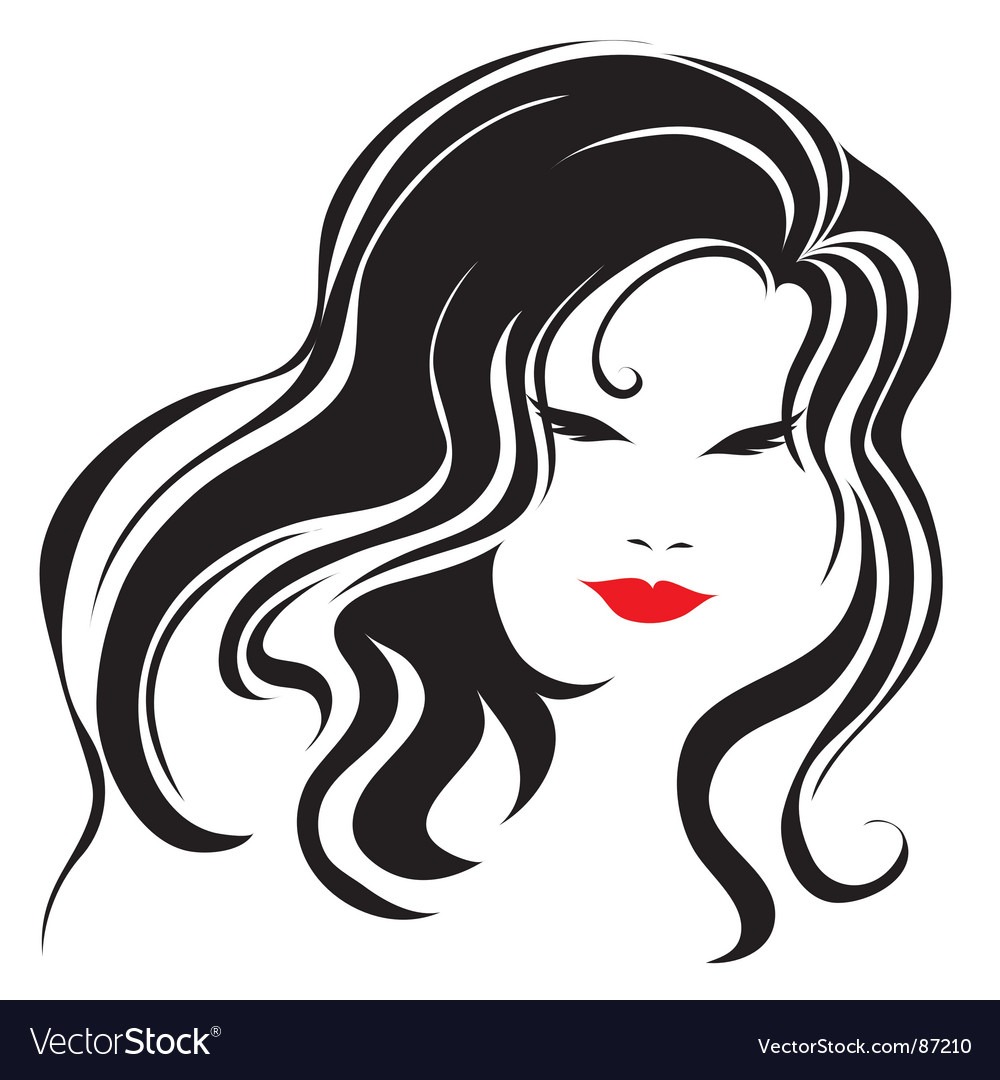 Vintage woman with beautiful long hair vector | Price: 1 Credit (USD $1)