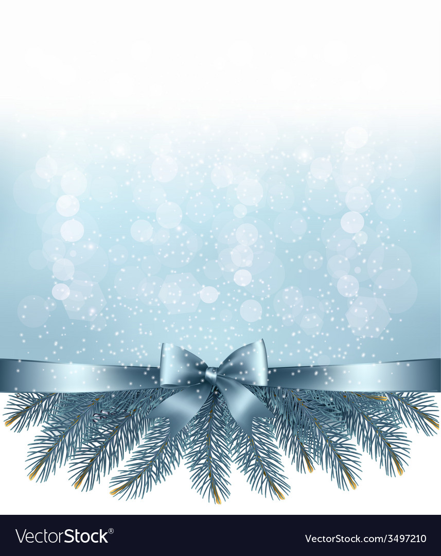 Winter snow and blue ribbon background vector | Price: 3 Credit (USD $3)