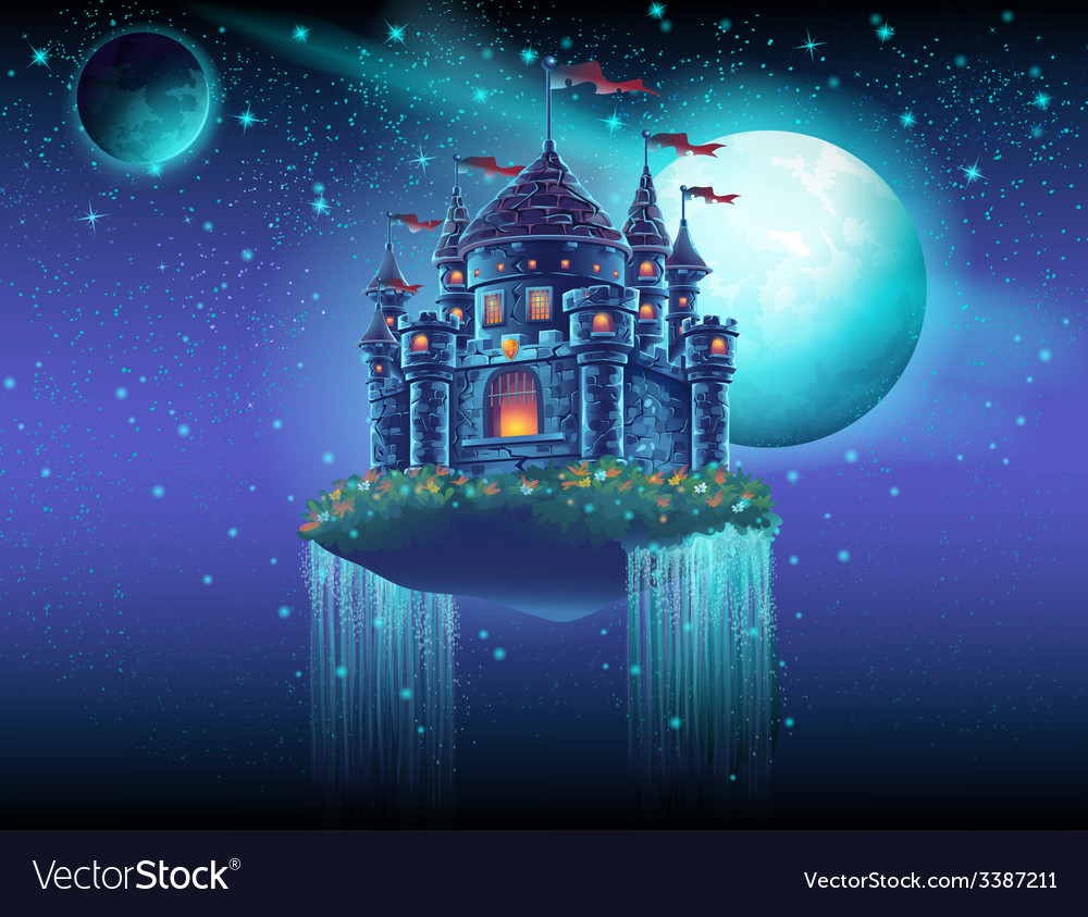A flying castle space with waterfalls on the vector | Price: 1 Credit (USD $1)