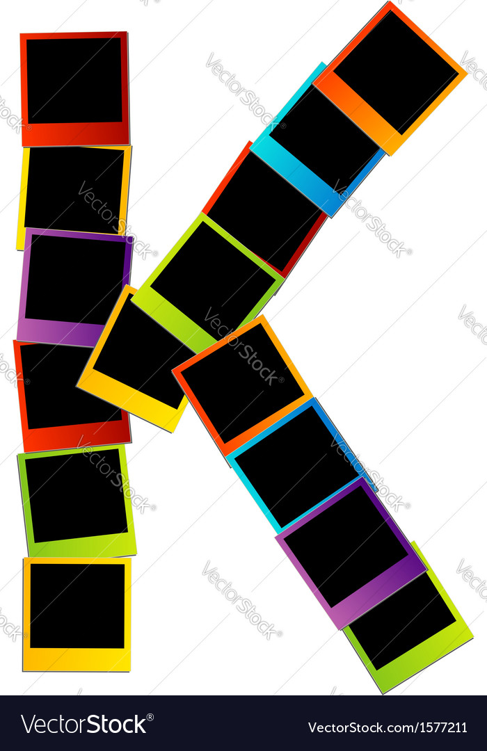 Alphabet k with colorful polaroids vector | Price: 1 Credit (USD $1)