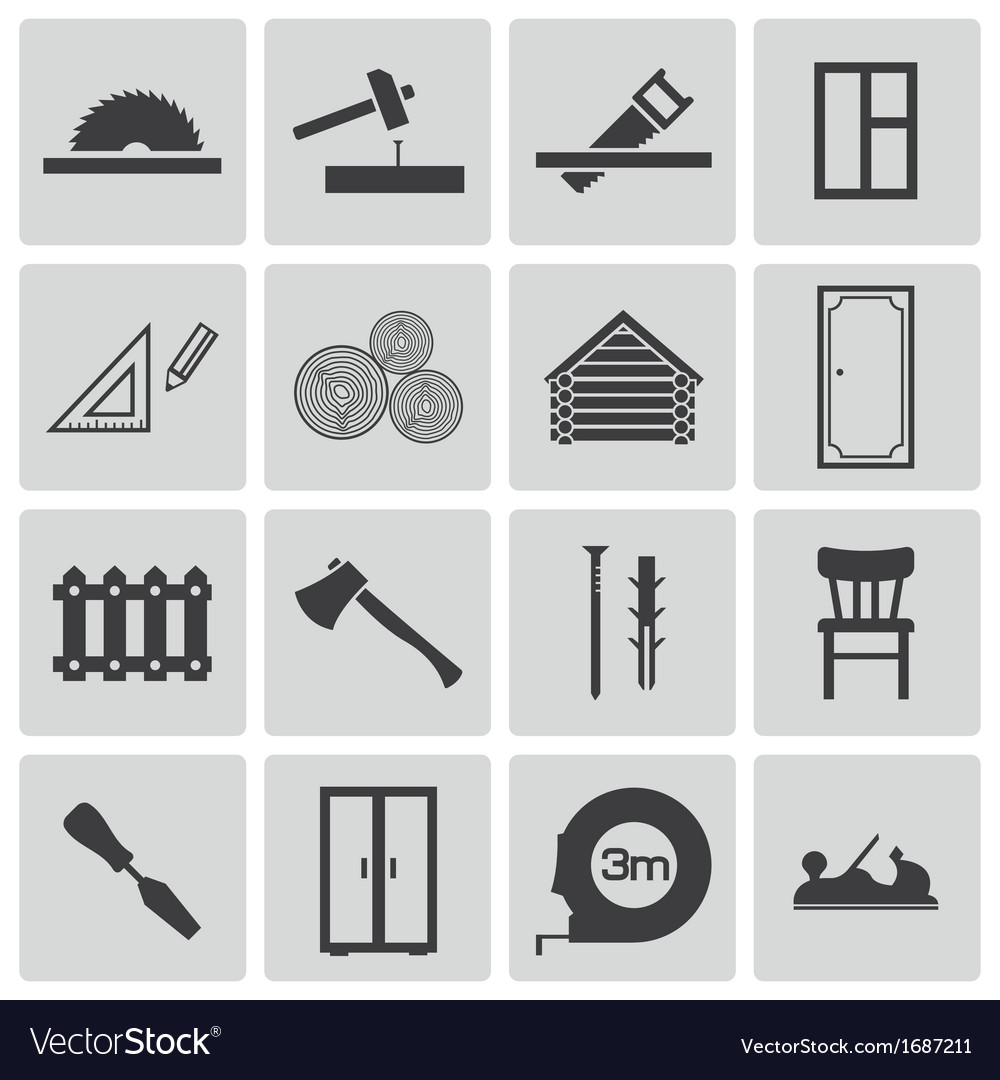Black carpentry icons set vector | Price: 1 Credit (USD $1)