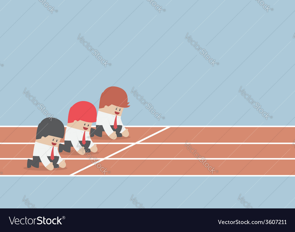 Businessman ready to run at start point business vector   Price: 1 Credit (USD $1)