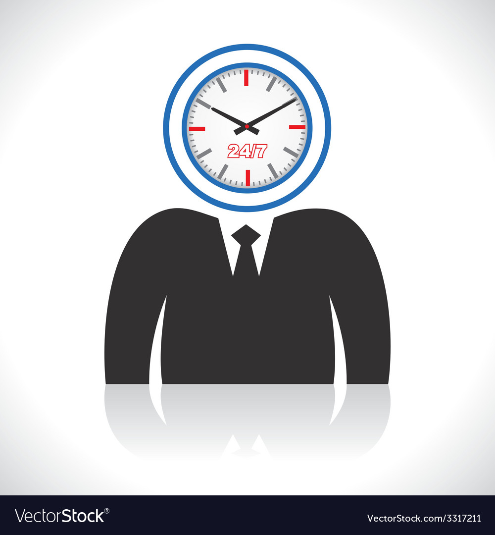 Clock men head vector | Price: 1 Credit (USD $1)