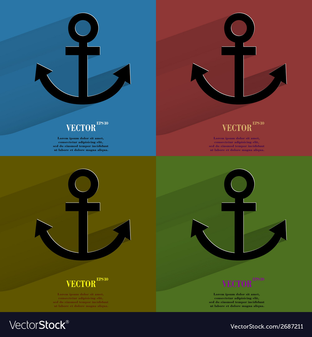 Color set anchor flat modern web button with long vector | Price: 1 Credit (USD $1)