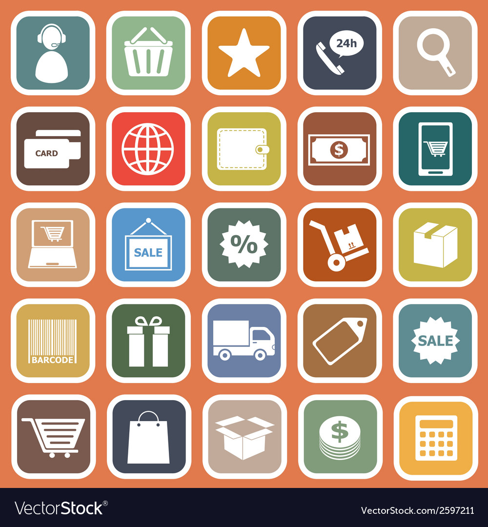 E commerce flat icons on orange background vector | Price: 1 Credit (USD $1)