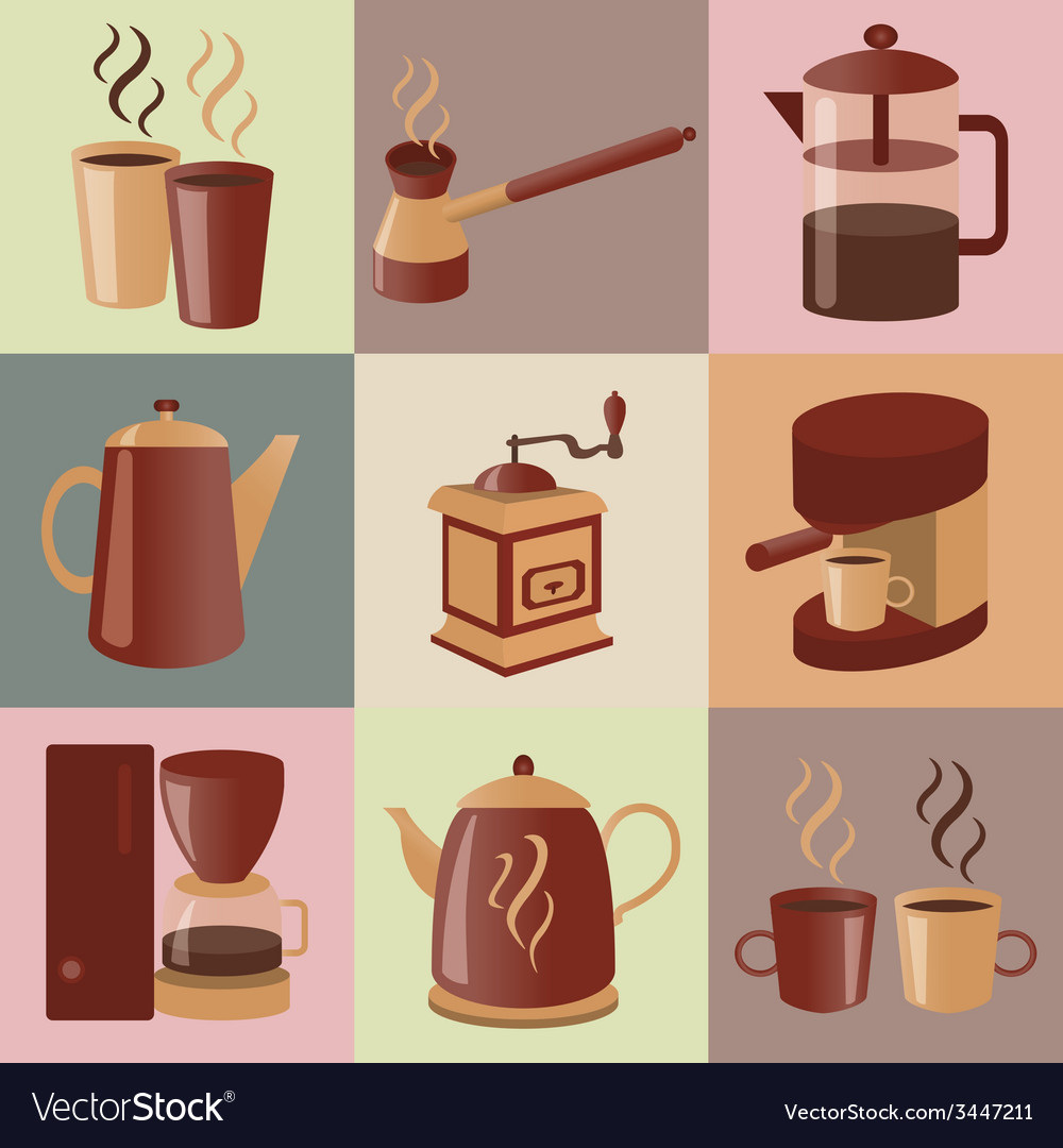 Equipment for making coffee icons set vector | Price: 1 Credit (USD $1)