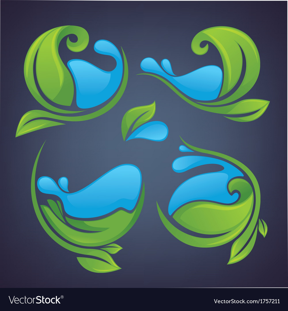 Leaves and water vector | Price: 1 Credit (USD $1)