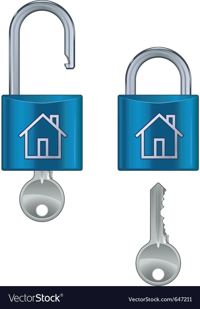 Locked and unlocked housing marked vector | Price: 1 Credit (USD $1)
