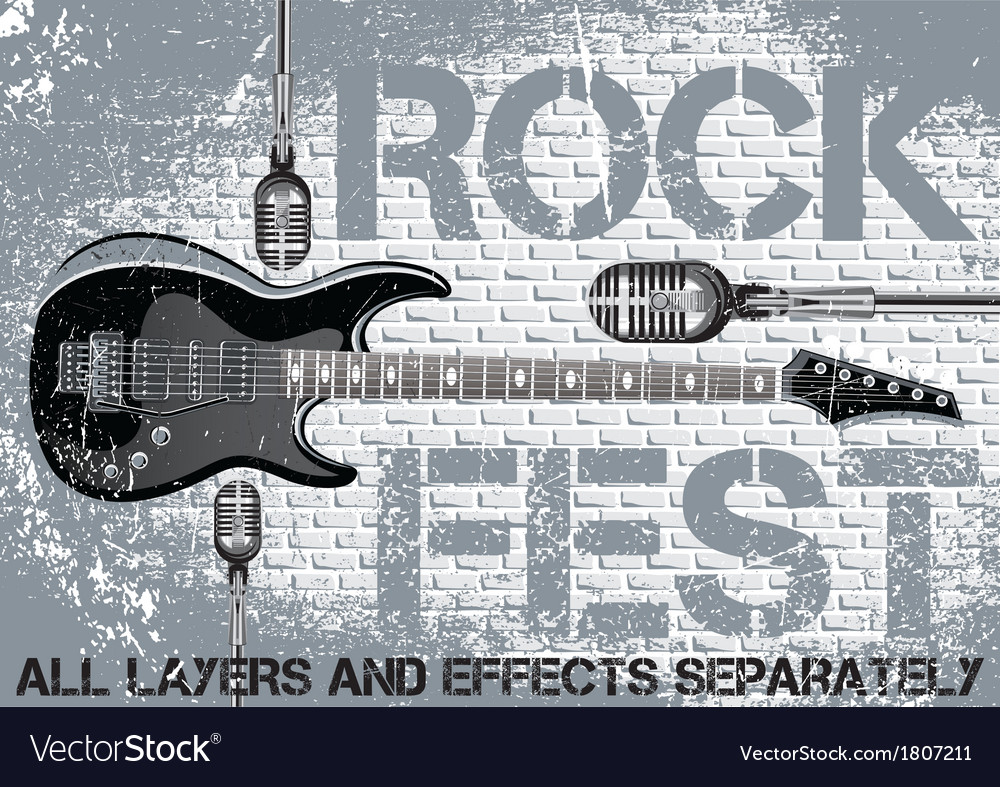 Rock festival template with guitar microphone vector | Price: 1 Credit (USD $1)