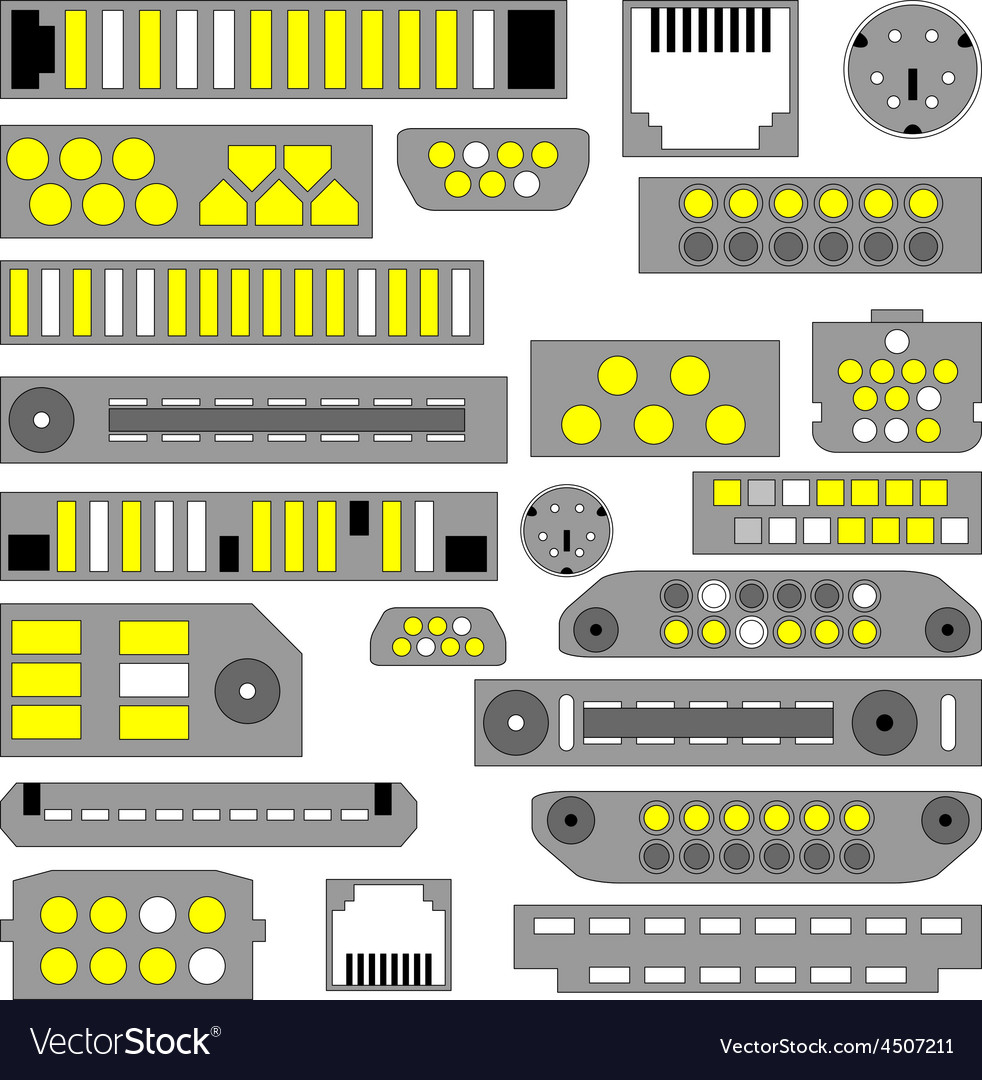 Video audio and telephone connectors vector | Price: 1 Credit (USD $1)